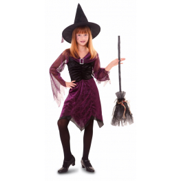 Disfraz de Bruja púrpura para niña