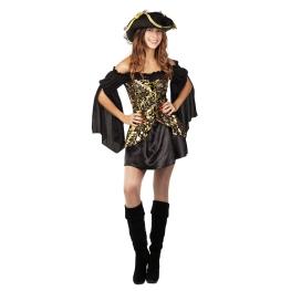 Disfraz de Pirata dorada Talla ML para mujer
