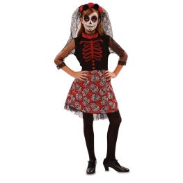 Disfraz de Catrina roja para niña