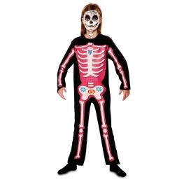 Disfraz de Esqueleto día de muertos rosa para niña