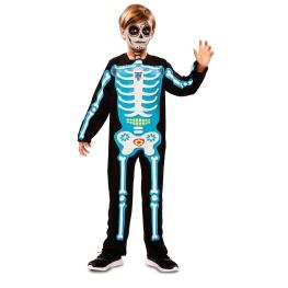 Disfraz de Esqueleto día de muertos azul para niño