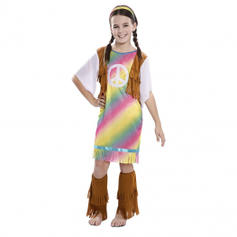 Disfraz de Hippie Arcoiris Niña