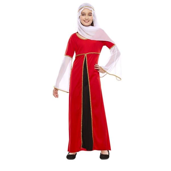 Dama Medieval Roja 5 a 6 años para niña