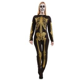 Disfraz de Esqueleto Glitter Oro para mujer
