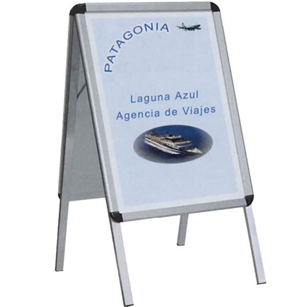 Expositor aluminio 2caras 100x70 fondo cuadricula