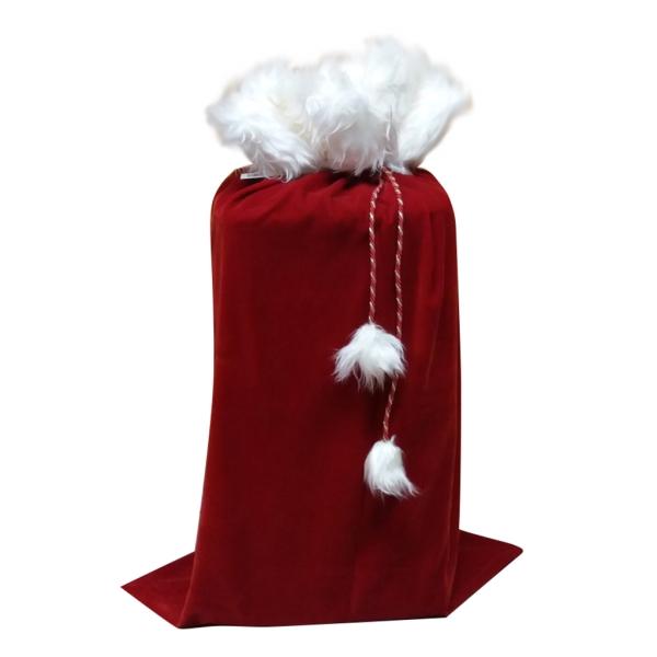SACO PAPA NOEL DELUXE terciopelo rojo con pelo largo blanco medidas 65 x 95 cm