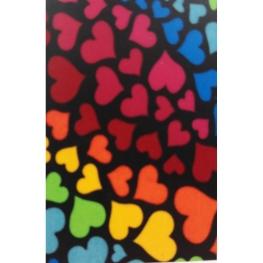 Metro strech estampado corazones multicolor ancho 150cm